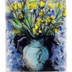 Blue Vase, Yellow Flowers